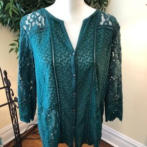 Lucky Brand SZ Large Green Lace Boho Peasant Top